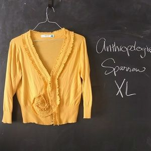 Anthropologie Sparrow Yellow Cardigan Sz XL